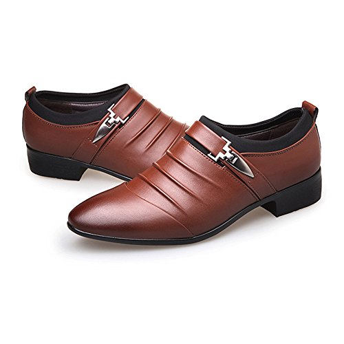 Scarpe Color Slip on Marrone da Smooth Xiaojuan Uomo foderato da EU Upper Dimensione Fodere Pelle lavoro Marrone shoes 43 Leather Scarpe uomo PU traspirante qPwvZwU