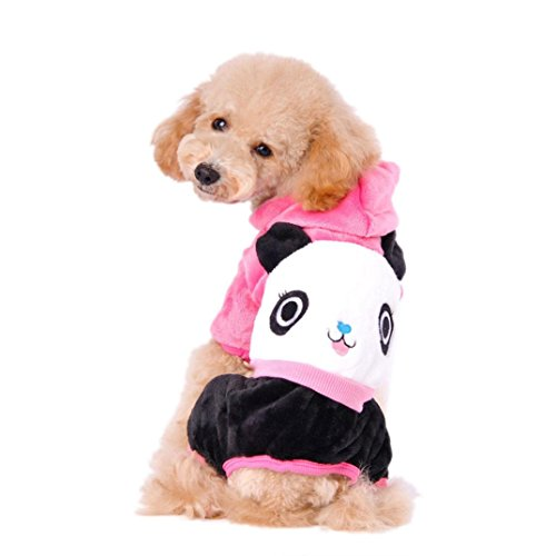 Binmer(TM)Dog Pet Clothes Doggy Cartoon Panda Hoodie Warm Sweater Puppy Winter Coat Apparel (S, Hot Pink) Review