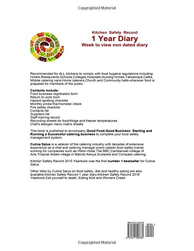 Kitchen Safety Record 1 Year Diary: Week to view food safety