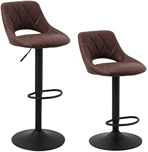 SUPERJARE Set of 2 Adjustable Bar Stools, Swivel Barstool Chairs with Back, Pub Kitchen Counter Height, Retro Brown, Fabric