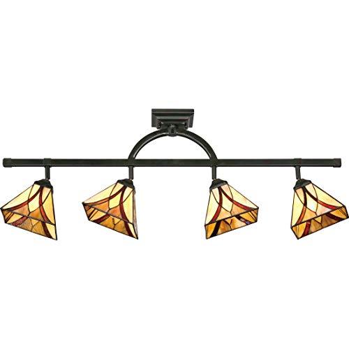 Quoizel TFAS1404VA Asheville Tiffany Adjustable Track Light Kit, 4-Light, 400 Watts, Valiant Bronze (14
