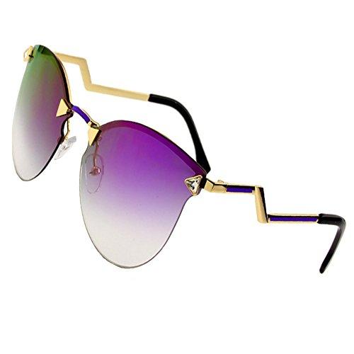 Sumery Women Luxury Fashion Design Arm Rimless Sunglasses UV Protect (Gold, - Sale Mykita