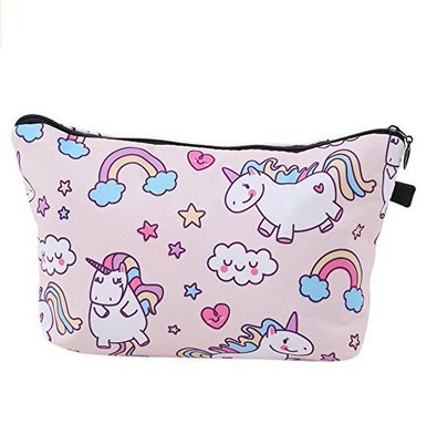 Unicorn Printed Makeup Brush Bag Key Bag Coin Purse Pencil Case with Zipper Gifts Aknifetoo