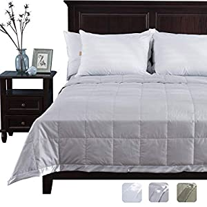 puredown Lightweight Natural White Down Blanket for Bedding Satin Weave 100% Cotton Grey King Size