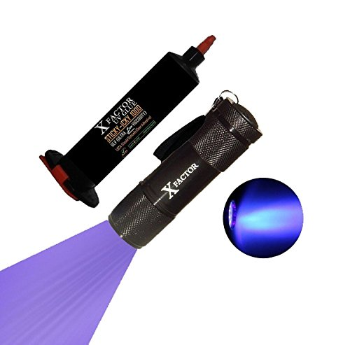 Xfactor STICKY-iCKY 1000mPas ULTRA LOW VISCOSITY UV LOCA Glue Adhesive + LED Ultraviolet UV LIGHT BLACK LIGHT FLASHLIGHT for LCD Glass Digitizer Repair, Dog & Cat Pet Urine Stain Detector, Scorpion Hunting, Counterfeits !!
