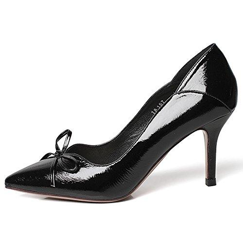 YMFIE Los Tacones Altos Dulces del Arco Señalaron los Zapatos Negros del Estilete de la Manera del Temperamento Atractivo Solo, 34 UE, A 34 EU|A