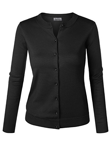 BIADANI Women Button Down Long Sleeve Soft Knit Cardigan Sweater Junior Fit Black Small