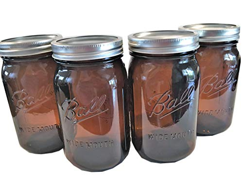 - Ball Mason Jars-32 oz Amber-Set of 4-NEW COLOR !!!