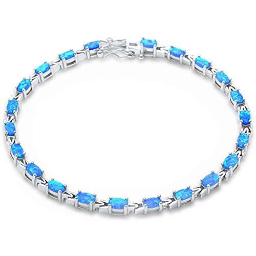 Sterling Silver 10ct Oval cut Lab Created Blue Opal (Silver Created Opal Bracelet)