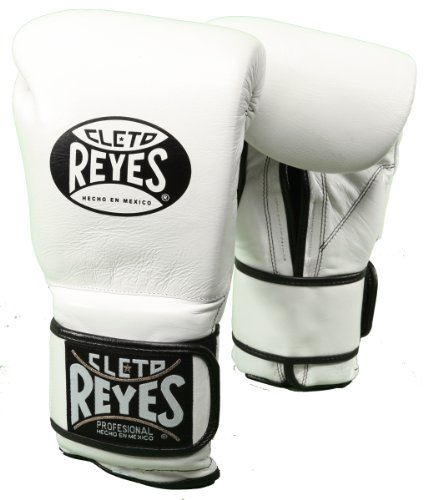 Cleto Reyes Hook and Loop Closure Leather Training Boxing Gloves - White