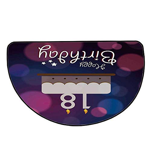 """18th Birthday Decoration Comfortable Semicircle Mat,Cartoon Birthday Party Cake with Candles Abstract Backdrop for Living Room,27.5"""" H x 55.1"""" L"""