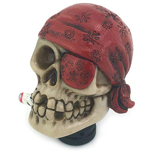 (Thruifo Skull Gear Knob Shifter, One-Eyed Pirate Style Car Stick Shift Head Fit Most Manual Automatic Vehicles, Red)