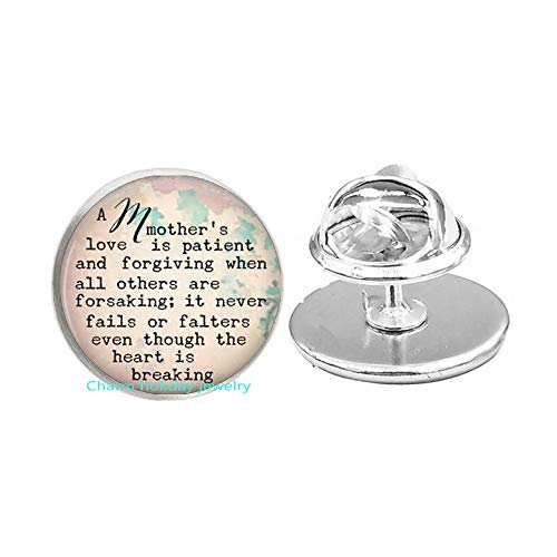 A Mother's Love Quote Brooch Inspirational Jewelry Forgiveness Pin Brooch Glass Quote Jewelry-#28
