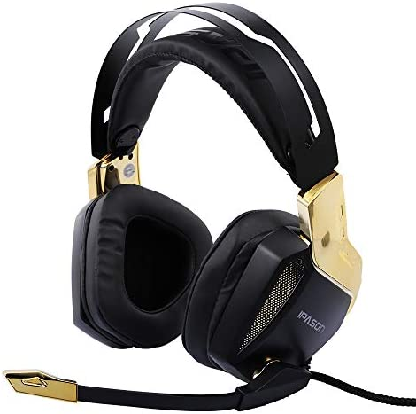 Docooler Gaming Kopfhörer E-Sport Headset 7.1 Soundtrack Stereo USB Soundkarte und Bunte Lichter (Gold)