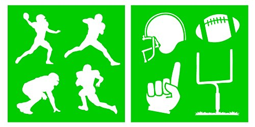 Auto Vynamics - STENCIL-FOOTBALL-10 - Football Silhouettes Stencil Set - Featuring Multiple Players, Goalpost, & More! - 10-by-10-inch Sheet - (2) Piece Kit - Pair of - Football Zone Offense