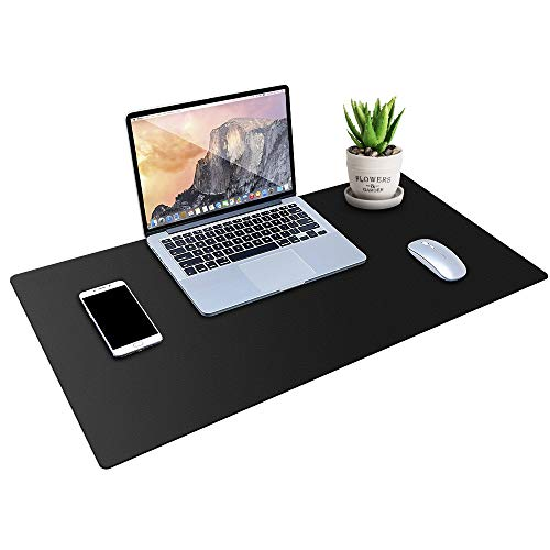 MONYES Thick Desk Pad Protector, PU Leather Desk Mat Blotters, Black Laptop Mat for Office/Home (36