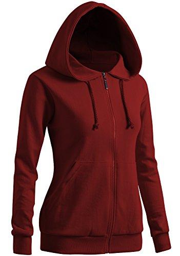 CLOVERY Women's Drawstring Long Sleeve Hoodie Wine US M/Tag M