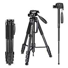 Neewer Portable 70 inches/177 centimeters Aluminum Alloy Camera Tripod Monopod with 3-Way Swivel Pan Head,Bag for DSLR Camera,DV Video Camcorder,Load up to 8.8 pounds/4 kilograms Black (SAB264)