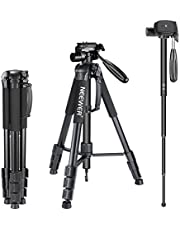 """Neewer Portable Aluminum Alloy Camera 2-in-1 Tripod Monopod Max. 70""""/177 cm with 3-Way Swivel Pan Head and Carrying Bag for DSLR,DV Video Camcorder"""