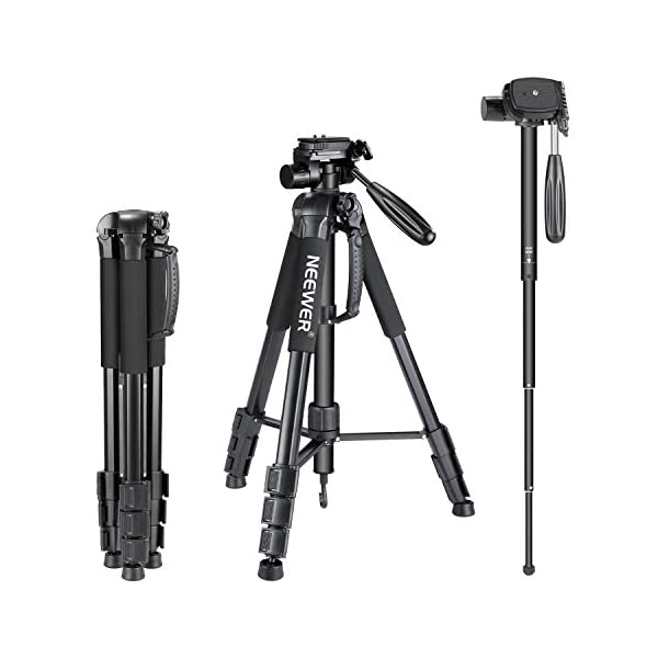"""RetinaPix Neewer Portable Aluminum Alloy Camera 2-in-1 Tripod Monopod Max. 70""""/177 cm with 3-Way Swivel Pan Head and Carrying Bag for DSLR,DV Video Camcorder"""