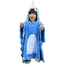 Glield Unicorn Hooded Poncho Towel Kids Hooded Bath / Beach Towel Wrap Age 2-10 Children ETYJ01 (Blue)