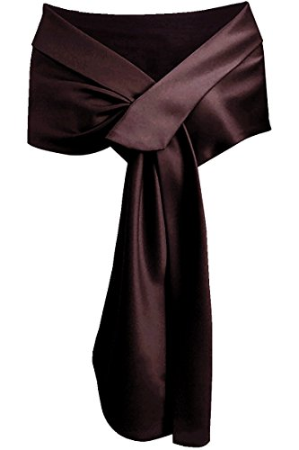 Meet Edge Women's Satin Shawl Wrap For Evening/Wedding Party Brown