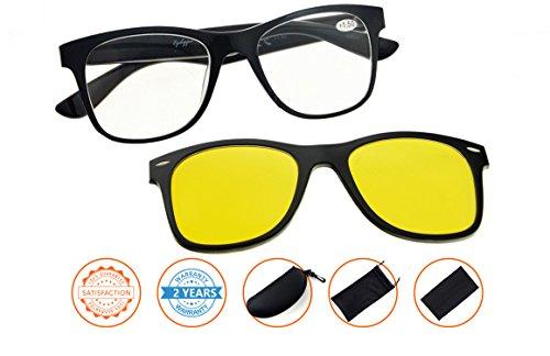 Reading Glasses Computer Eyewear With Blue Light Blocking,Reduce Eyestrain,UV Protection,Polarized Photochromic Lens Sun Clip(Black-Clear) - Reading Whole Glasses Foods