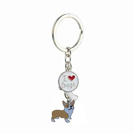 JENOR I Love My Dog Lovers Corgi Husky Bulldog - Llavero con ...
