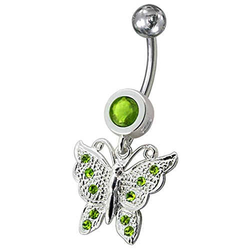 Peridot Green CZ Stone Princes Butterfly Dangling 925 Sterling Silver Belly Button Piercing Ring Jewelry