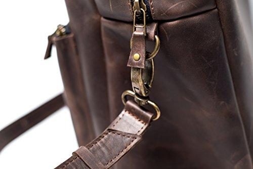 Handmade Solutions EU - Bolso al hombro de Piel para hombre marrón