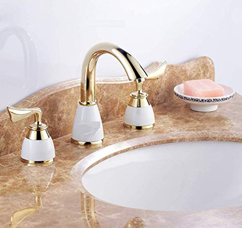 Bathroom Faucet Antique European and American Style Split Double Three-Hole Antique gold Ceramic Faucet Counter Basin Faucet Hot and Cold Copper