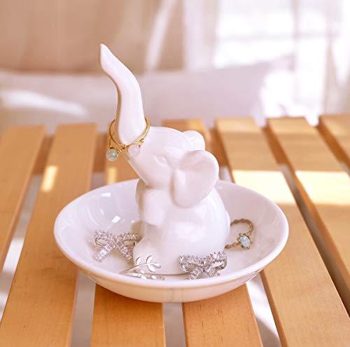 PUDDING CABIN Elephant Ring Holder Ring Dish - Jewelry Tray for Wedding Christmas Birthday (Elephant Holder Ring)