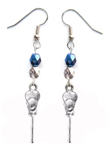 ''Lacrosse Stick & Ball'' Lacrosse Earrings (Team Colors Navy Blue & Silver) by Edge Sports