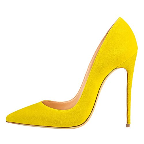 Patent Yellow for Ladies Shoes Pumps Zsie Dress 4 High inches toe 7 Party suede Heels VOCOSI Women's Pointed wx4qY