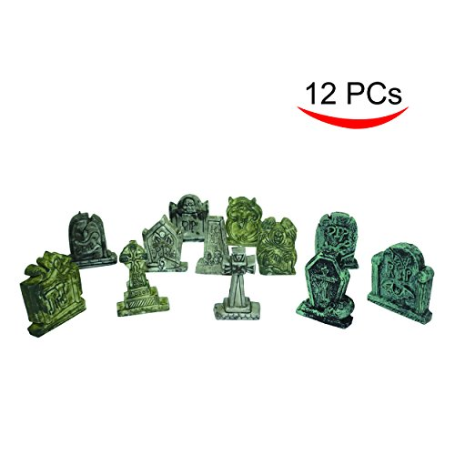 Spooktacular Creations Set of 12 Miniature Tombstones for Halloween (Halloween Cemetery Decorations)