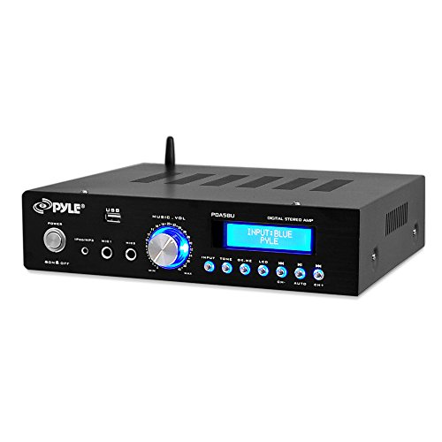 Wireless Signal Amp - 200 Watt Audio Stereo Receiver - Wireless Bluetooth Home Power Amplifier Home Entertainment System w/AUX IN, USB Port, DVD CD Player, AM FM Radio, 2 Karaoke Microphone Input, Remote - Pyle PDA5BU.0