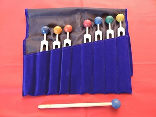Chakra Tuning Forks Set - 7 Tuning Forks with Colored Chakra Balls and Free Pouch and Free Activator