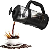 FISH DIVE Quality Large French Press Coffee Maker With Filter French Press Durable Coffee Press Glass French Press Dishwasher Safe 34oz 8cups Black