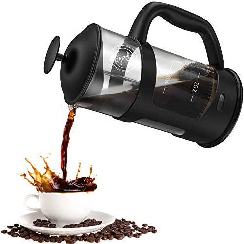 FISH DIVE Quality Large French Press Coffee Maker With Filter French Press Durable Coffee Press Glass French Press Dishwasher Safe 34oz 8cups