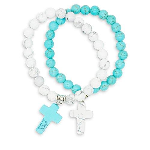 December Birthstone Rosary Bracelet (Zhepin 8MM Howlite and Turquoise Bracelet Mother Daughter Bracelet Cross Bracelet for Women Mothers Day Gifts Bracelet)