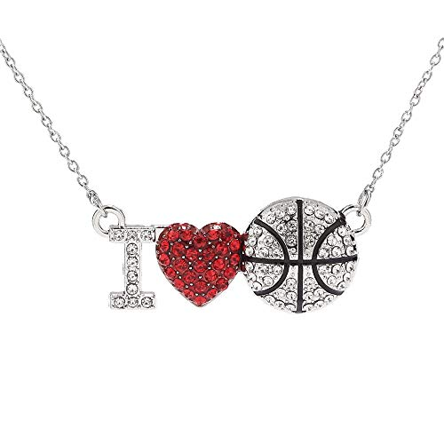 (LIYALI Fashion Red Heart Basketball Full Diamond Pendant Necklace for)