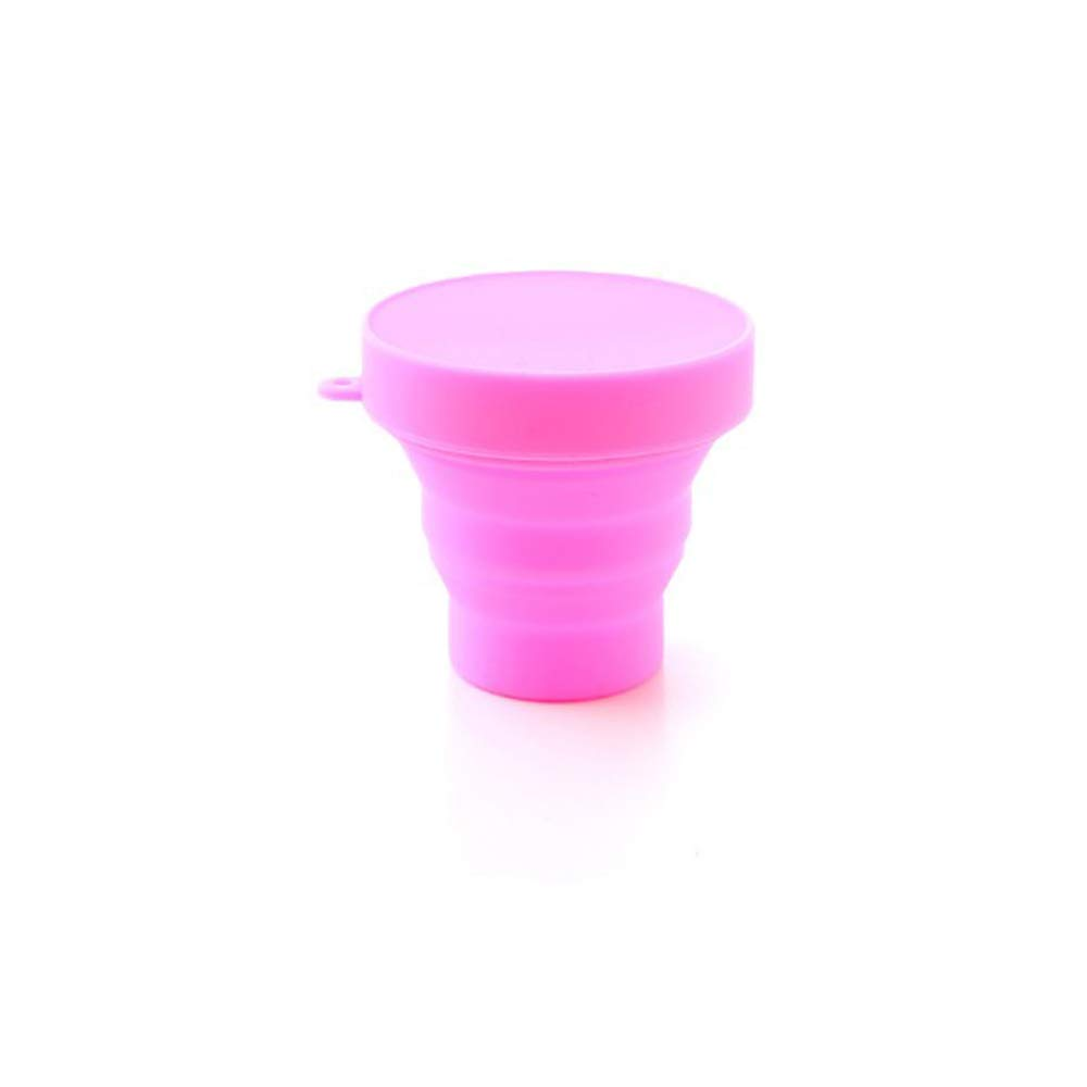Vinmax Collapsible Cup, Foldable Silicone Travel, Camping Cup - Light and Small - Easy to Carry - 170 ML/5.8 Fluid Ounce -Yellow, Blue, Green, Pink (Pink)