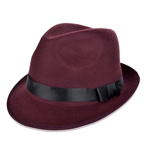 Vbiger Fedora Hats Bowler Hat Gangster Porkpie Derby Hats (Wine Red)