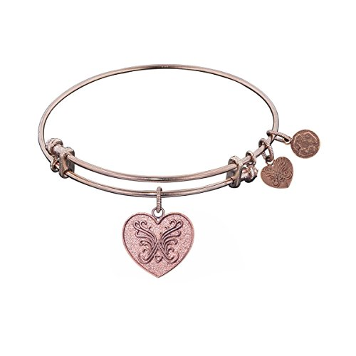 Non-Antique Pink Stipple Finish Brass Angelica Heart Angelica Bangle Bracelet