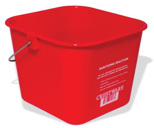 Crestware BUCMR 6-Quart Sanitation Bucket, Medium, Red ()