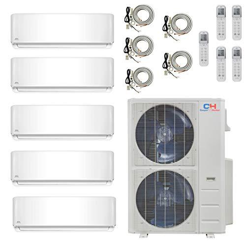 COOPER AND HUNTER 5 Zone 9000 9000 9000 9000 24000 BTU Multi Zone Ductless Mini Split Air Conditioner Heat Pump WiFi…