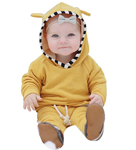 Infant Baby Boys Girls Cute Ear Long Sleeve Hoodie Tops Sweatsuit Pants Outfit Set (12-18 months, yellow)