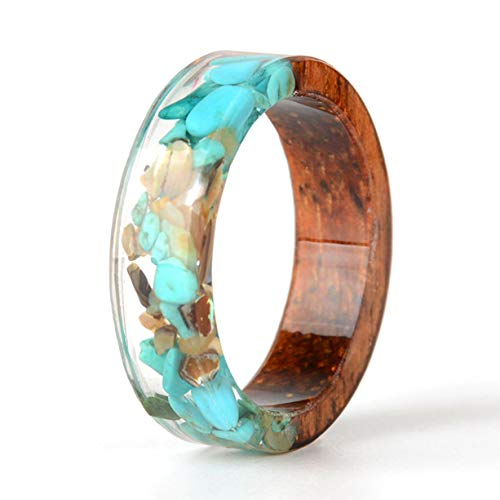 NDJEWELRY Unique Wood Resin Ring with Turquoise Insided Transparent Crystal Band Ring Best Handmade Gift for Her Size 10.5