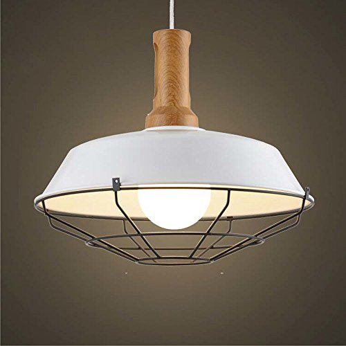 (SUSUO Lighting 1 Light Wooden Hanging Farmhouse Light Fixture Warehouse Shade Barn Pendant Light with Wire Cage)