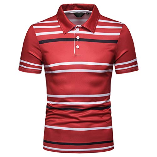 Simayixx Tops Plus Size Men's Basic Striped T-Shirt Crew Neck Cotton Shirt Sport Golf T Shirts Lapel Striped Blouses 2XL Red